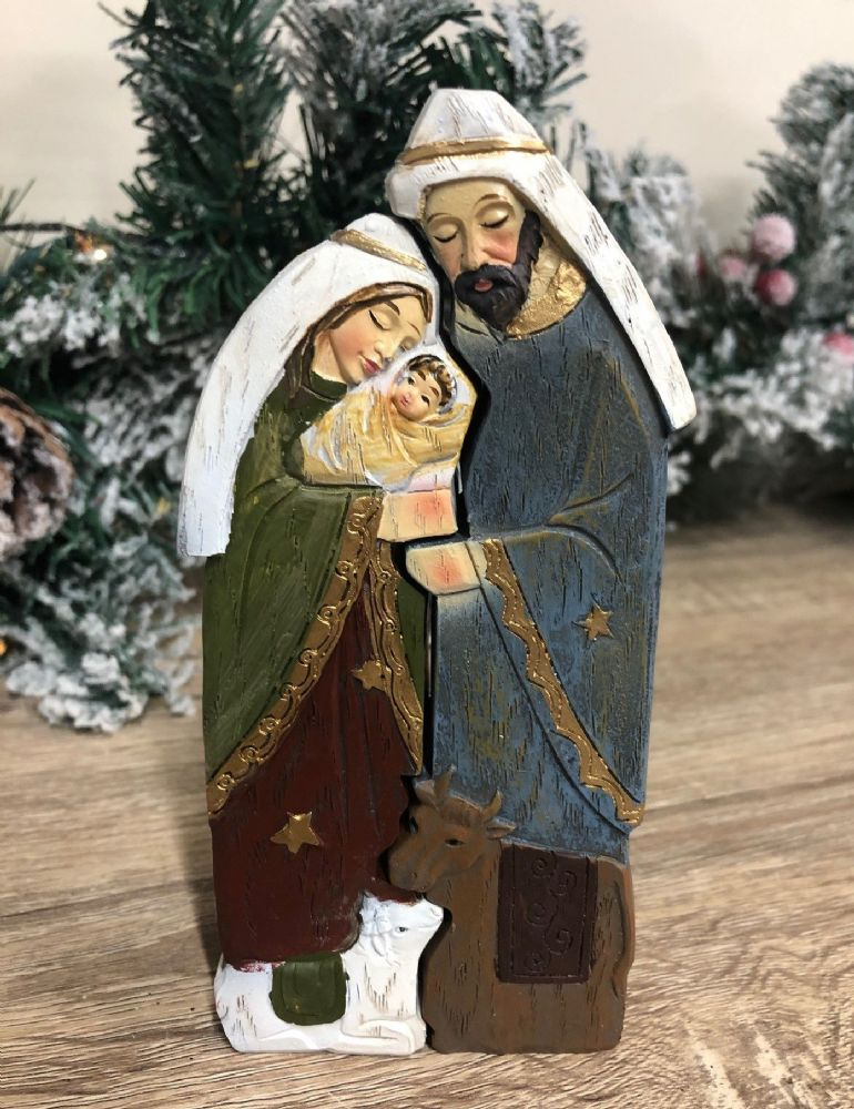 Nativity Jigsaw Style Ornament Wooden Christmas Holy Family Figurine